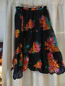 YOURS PLUS SIZE FLORAL FLARED LINEN LINED SKIRT - SIZE 24