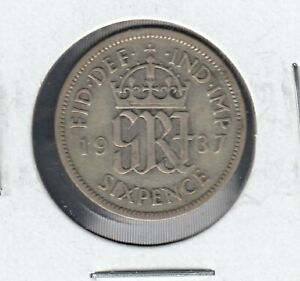 1937 UNITED KINGDOM KING GEORGE VI 6 PENCE SILVER(0.50) COIN IN NICE CONDTION