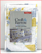 Croft Barrow SARAH Reversible HERITAGE Quilted Cotton SHAM -Blue Yellow Standard