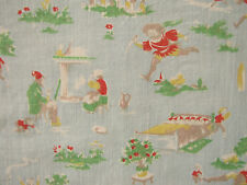Vintage French children's fabric pale blue ground charming design c1930