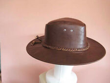 9139628be8e Dark Brown 100% Leather Western Cowboy Hat Leather braided Band Leather  Large