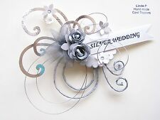3D SILVER WEDDING ANNIVERSARY CARD CRAFT TOPPER, EMBELLISHMENT  WED-S