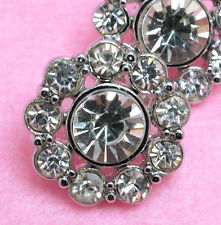 10 Sparkling 14mm Clear glass Rhinestone Silver Metal Shank Buttons N139