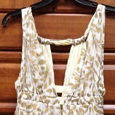 NWT Diane Von Furstenberg Grecian Ivory Dress with Gold Leaf Print