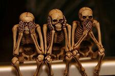 Enmarcado impresión-ver escuchar hablar ningún mal esqueletos (Imagen Cartel Gótico Horror)