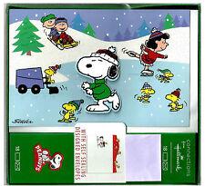 Hallmark Peanuts Snoopy Christmas Cards Box Set of 18 Designer Envelopes New #1