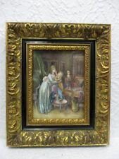 """Ancienne peinture miniature """" Scène de genre """""""