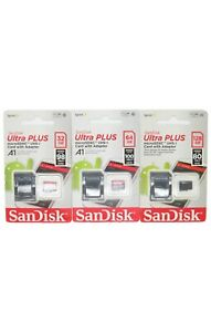 SanDisk Ultra Plus MicroSDXC USH-I Card & Adpater 32GB / 64GB & 128GB