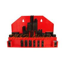 """52 PC Clamping Kit 7/16"""" T-Slot Stub End Clamp Flange Coupling Step Block"""