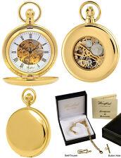 Woodford Orologio da tasca CACCIATORE, Scheletro retro placcato oro