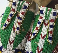 Antique Lakota Sioux Moccasins Native American Beaded Deer Hide Hard Soles 1910