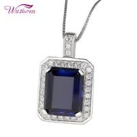 Women Emerald Blue Sapphire White Topaz Sterling Silver Pendant Chain Necklace