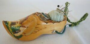Vintage Wooden Dutch Clog Shoe Pincushion Hand Painted