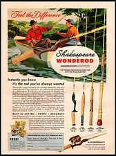 1958 Shakespeare Wonderod Casting Fly Spinning Salt Water Vintage Print Ad