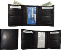 Lot of 3 Men's Trifold Leather Wallet 8 credit card ID Black billfold wallet NWT