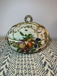 Beautiful United Wilson JUWC 1897 Flower Lady Bug Design Container Candy Dish