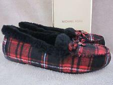MICHAEL KORS Cori Moc Moccasins Red Plaid Knit Wool Slippers Flats Shoes 9 M NWB