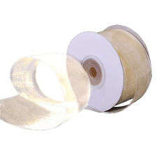 "1/4"" Plain Sheer Organza Nylon Ribbon 25 Yards - Ivory"