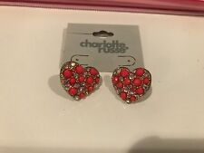 New Charlotte Russe Earrings, Cute Pink Hearts, Fake Pearls And Diamonds