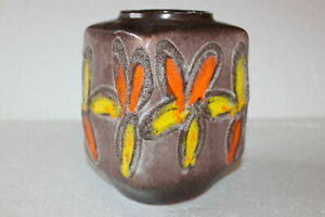 Vintage STREHLA Keramik DDR Vase gelb/orange Blumen Pottery 70s Space Age