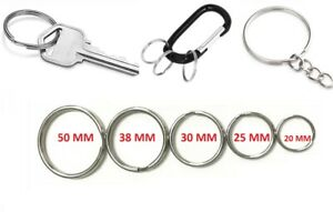 CHOOSE SMALL - EXTRA LARGE KEYRING SPLIT RINGS Metal Nickel Hoop Loop Key Holder