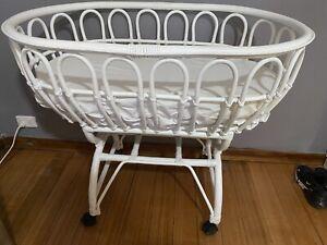 Large white rattan cane bassinet