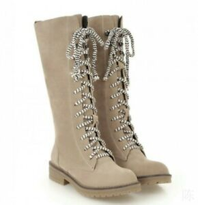Women Mid Calf Knight Boots Low Heel Flats Lace Up Combat Outdoor Shoes UK Size