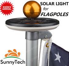 Sunnytech 2016 2nd Generation-Black Solar Flag Pole Flagpole 20Leds Light G A2