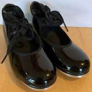 Capezio Black Tele Tone Tap Shoes Size 1 1/2 M Mary Jane Elastic Lace Tie Girls