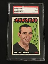 HOF ED GIACOMIN 1965-66 TOPPS ROOKIE SIGNED AUTOGRAPHED CARD #21 SGC AUTHENTIC
