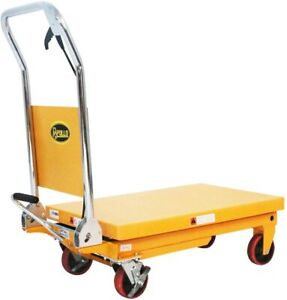 Single Scissor Hydraulic Cart Lift Table Manual Platform Truck 1100Lbs Capacity