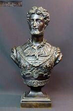 1880 superbe sculpture buste HENRY IV Bronze JC DE BLEZER 4.9kg40cm roi patine +