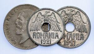 Romania 3-Coins Set // 1912 Silver Leu, 1921 25 Bani & 50 Bani