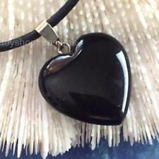 Gemstone Black Agate Heart Necklace Genuine Leather - Protection Courage Stress