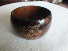 """Beautiful Bangle Bracelet Dark Brown Wood Embossed Floral 2 5/8 x 1 5/8"""" NICE"""