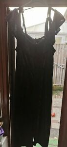 Simply Be Black Velour Effect Bnwt Bardot Jumpsuit Size 20 Polyester