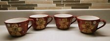 LAURIE GATES 4-PC HOLIDAY TREATS GINGERBREAD MAN CUP SET X-MAS COFFEE TEA COCOA