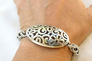 """AlTERED Brighton Lacie Daisy Open Worked Silver Chunky Chain  8""""-9"""" Bracelet"""