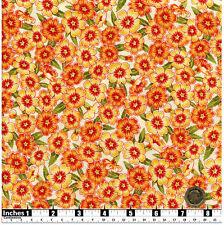 Quilting Fabric Orange Primulas Cream Background Fat Quarters 100% Cotton