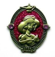 Disney Pin Princess Birthstone June Pearl Purple JASMINE Cameo Bronze Frame
