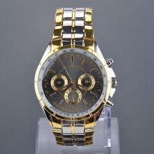 1x Mens Black & Gold Analogue Dial Quartz Stainless Steel Battery Wrist Watch
