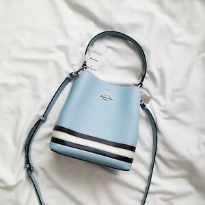 New COACH SMALL TOWN BUCKET BAG IN COLORBLOCK WITH STRIPE C4080 $378
