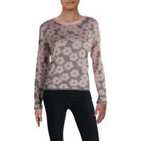 John + Jenn Womens Fionne Gray Floral Print Pullover Sweater Top M BHFO 7404