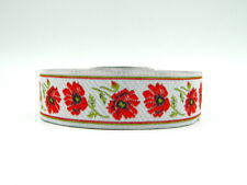 10m EMBROIDERED  RIBBON/TRIM*Flowers * 25mm width*