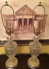 VTG Pair BEAUTIFUL Cut Glass Table Lamps Crystal Lamps Etched Brass Plate Light