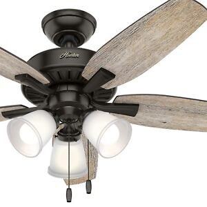 "Hunter 48"" Noble Bronze Ceiling Fan with 3 LED Lights, 5 Blade"