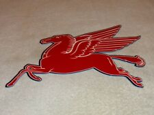 "VINTAGE MOBIL MOBILGAS DIE-CUT FLYING RED PEGASUS HORSE14"" METAL GAS & OIL SIGN!"
