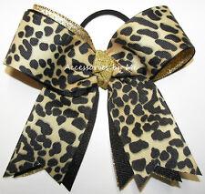 Leopard Ponytail Hair Bow Safari Cheetah Black Gold Gymnastics Dance Cheerleader