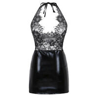 Women See Through Lace Bodycon Short Mini Dress G-String Sexy Party Clubwear Set