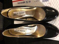 "Shoes, STEVE MADDEN,dark navy patent, round toe pump, 5 1/2"" wedge, SZ: 6 1/2M"